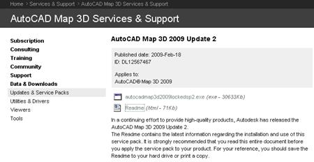 Update2AcadMap2009
